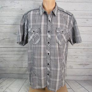 Chals Button Front Snap Pockets Plaid Shirt 2XL